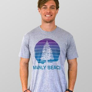 Manly T Shirt Pine Tree Grey Marle