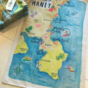 Manly Map tea towel