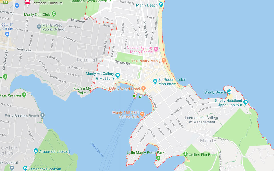Map of Manly Beach, Sydney