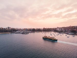 The Manly ferry service arriving at Manly Wharf.